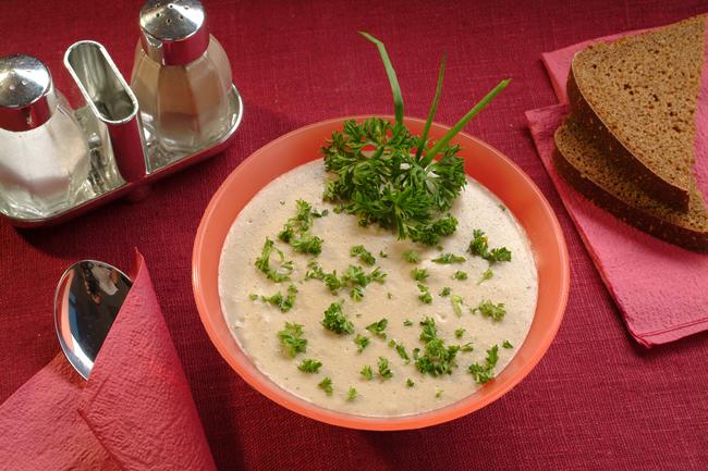 Суп-пюре з креветок та грибами