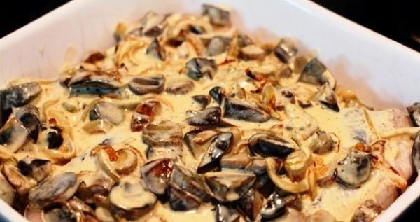 Судак смажений зі свіжими грибами